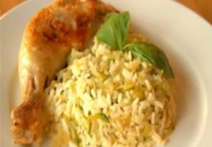 Csirkecomb cukkinis rizottóval